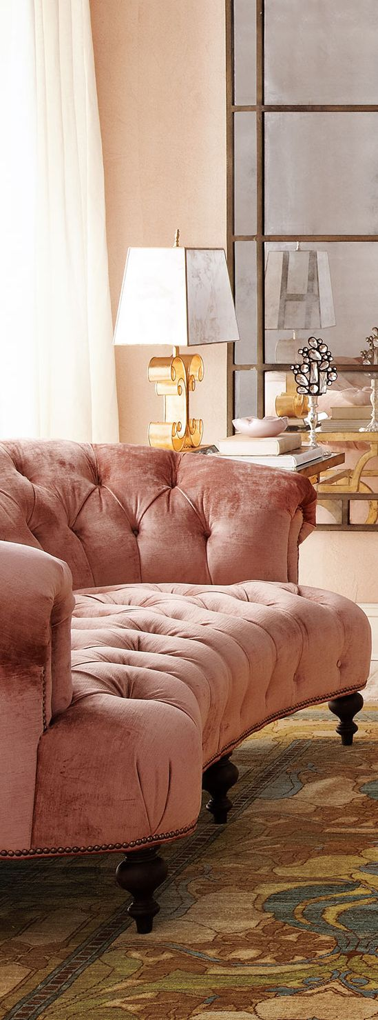 pink blush velvet sofa, tufted. elegant blush pink furniture. message DesignNashville for any fabric requests.