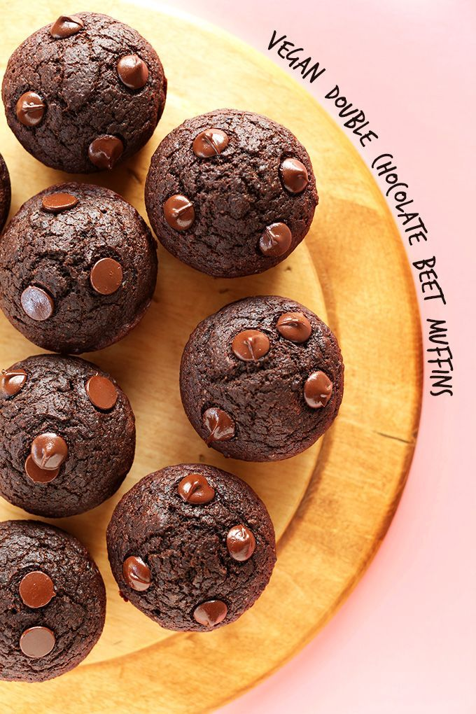 Fudgy, vegan double chocolate muffins with a secret healthy ingredient: pureed beets! Healthy, easy to make, and satisfies a serious chocolate craving.