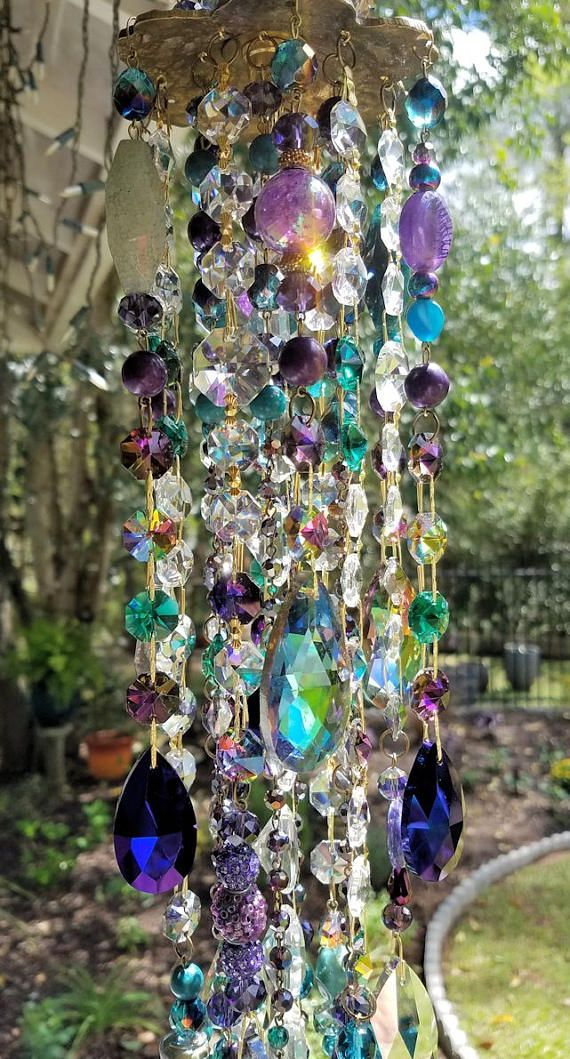 Teal and Purple Antique Crystal Wind Chime Bohemian Crystal