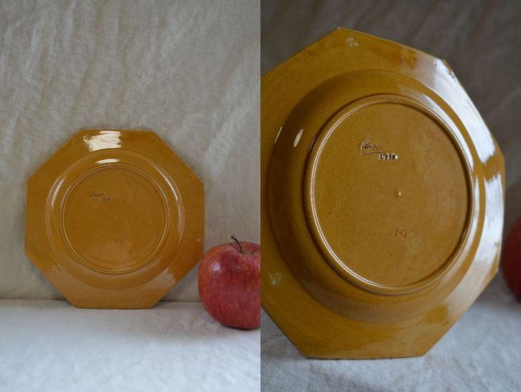 南仏アンティーク ピション窯のオクトゴナルデセール皿 4枚揃い_画像5