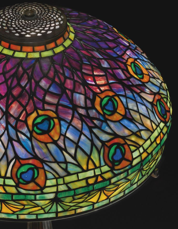 "** Tiffany Studios New York ""Peacock"" leaded glass and patinated bronze table lamp."