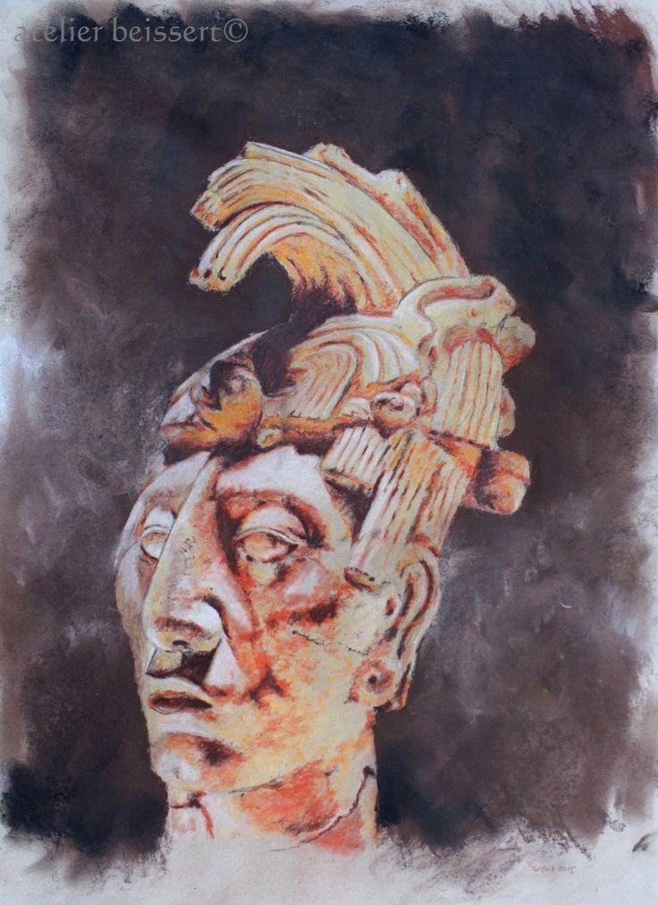 König Pakal, Maya 7 Jh.  Kreide auf grauem Tonpapier, 50 cm x 70 cm, Leipzig 2015