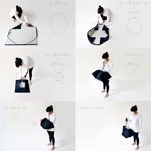 kumeko: picnic blanket transforms into carry bag //