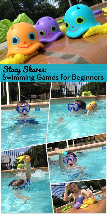 Stacy Shares: Swimming Games for Beginners.  Practicing swimming skills can be fun when it's part of a game! How did your children learn to swim?