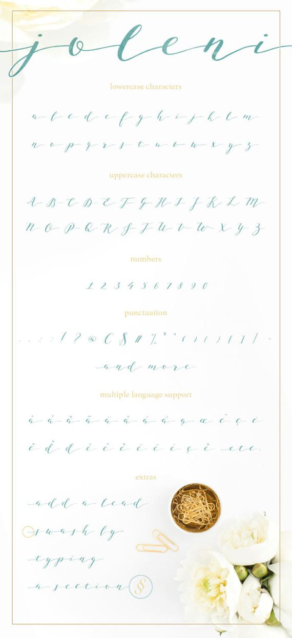 • Joleni Font - Modern Calligraphy A carefully handmade font. I really wanted it to come out soft and elegant. During the design process I imagined it smoothly blending in with a classic wedding stationery collection, floral wall art or feminine business logos or blog headers. This is a