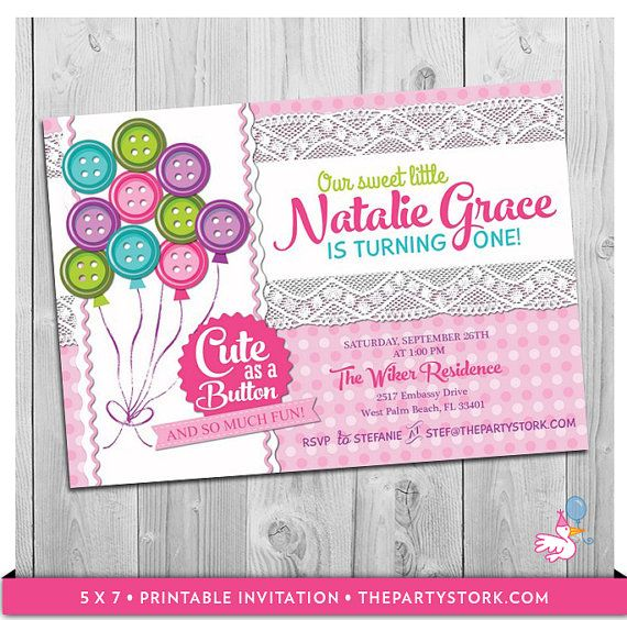 cute as a button birthday party invitation by