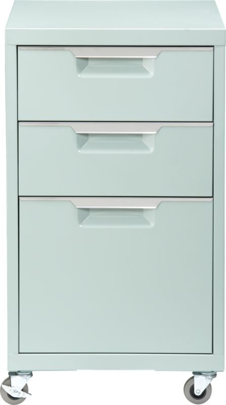 This is the perfect color. Who wouldn't want to file in this beauty? TPS mint file cabinet  | CB2 Also available in orange, white, and carbon grey. $159
