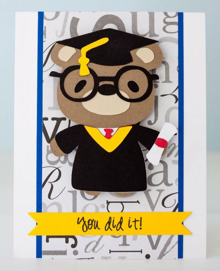 "Graduation bear card using Cricut cartridge ""Teddy Bear Parade"" and Pink by Design's stamp set ""Our Kids."""