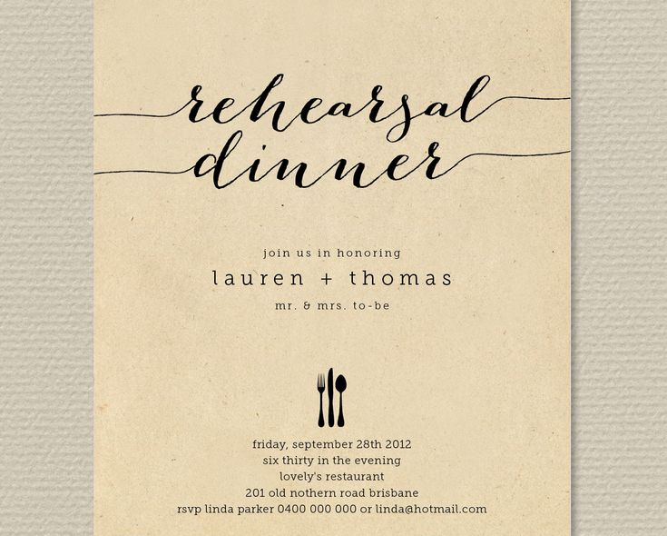 Printable Wedding Rehearsal Dinner Invitation - Rustic Background with black  (RD20). $18.00, via Etsy.