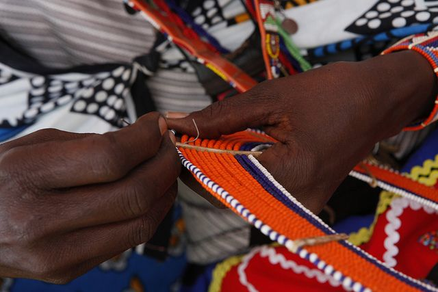 Maasai women make, sell and display their bead work