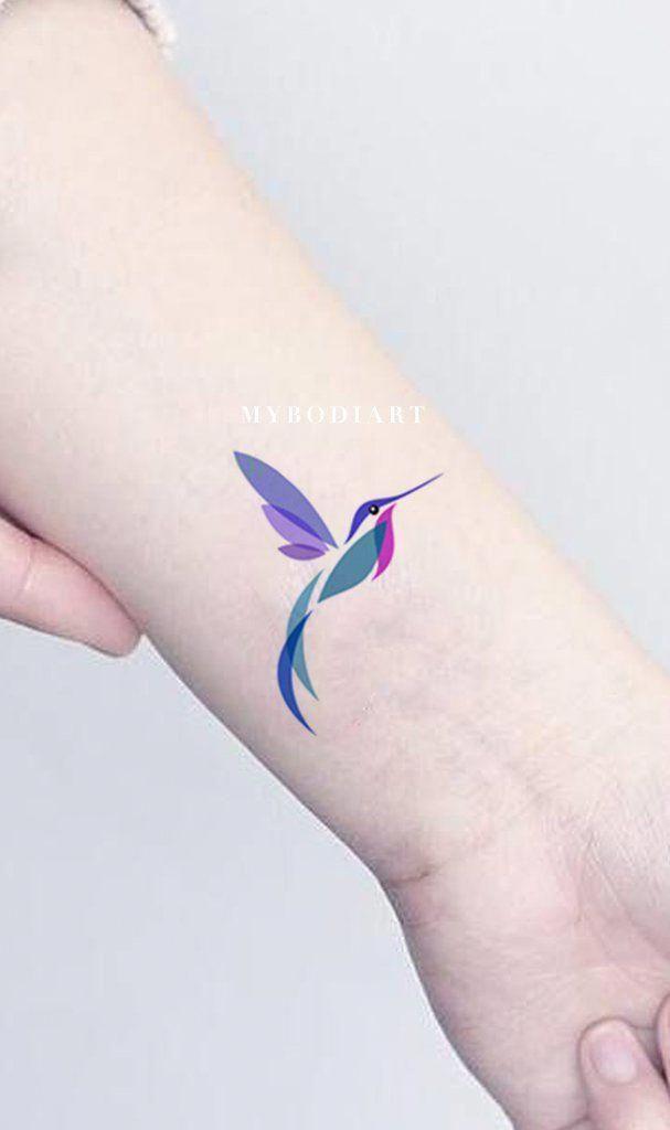 Watercolor Hummingbird Wrist Tattoo Ideas For Women Beautiful Colorful Color Block Bird Arm Tat Ideas Bird Tattoos Arm Hummingbird Tattoo Tattoos For Women