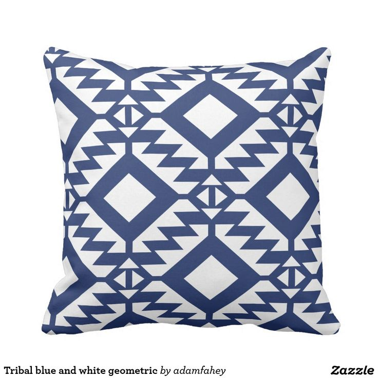 Tribal blue and white geometric throw pillow