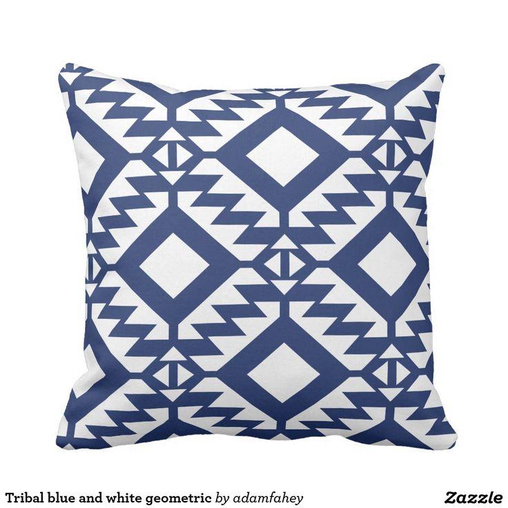 Tribal blue and white geometric throw pillow