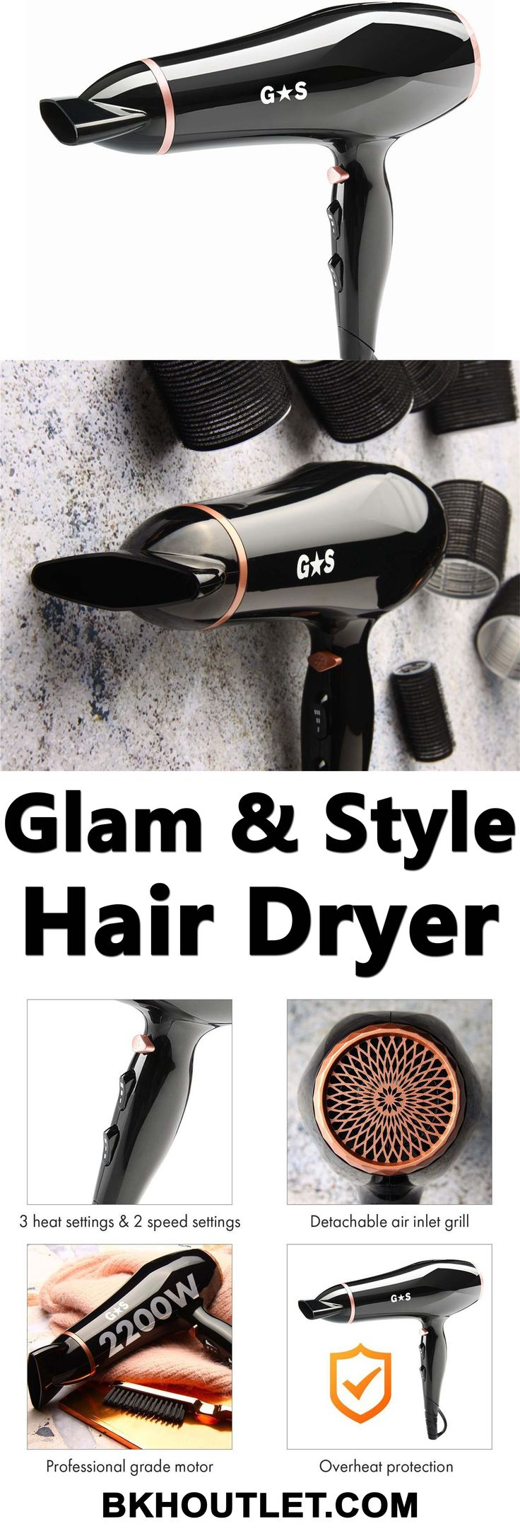 A HIGH-QUALITY HAIR STYLING BRAND AT AFFORDABLE PRICE All Glam & Style Products are inspired by professional hair styling salons. The high quality of all styling tools is convincing as the timeless and luxurious design. │hair care │hair care products │curl hair │curling wands │hair dryers │hair styles │hair removal │bkhoutlet │woman fashion #haircare #haircareproducts #curlhair #curlingwands #hairdryers #hairstyles #hairremoval #bkhoutlet #womanfashion
