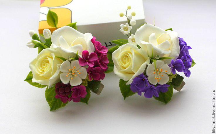 Купить или заказать Зажим для волос 'Princess lilac' в интернет-магазине на Ярмарке Мастеров. в другом цвете заколочка 'For Princess', вместо разноцветных маленьких цветочков главный акцент здесь сирень насыщенного цвета. ------------------ нежная, яркая, весенняя, привлекающая вгляд. ****************************************************** ****цена за одну заколку**** с добавлением веточки ландыша цена заколки- 850р…