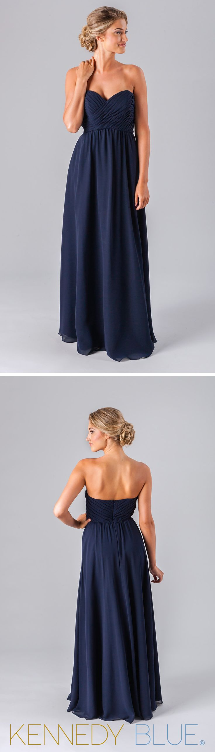 Kennedy Blue Parker is a classic strapless chiffon bridesmaid dress that will look great on each of your girls.