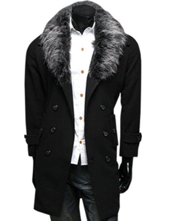 Casual Fur Collar Worsted Dust Long Coat Wind Top For Men/66096 via AmaSell. Click on the image to see more!