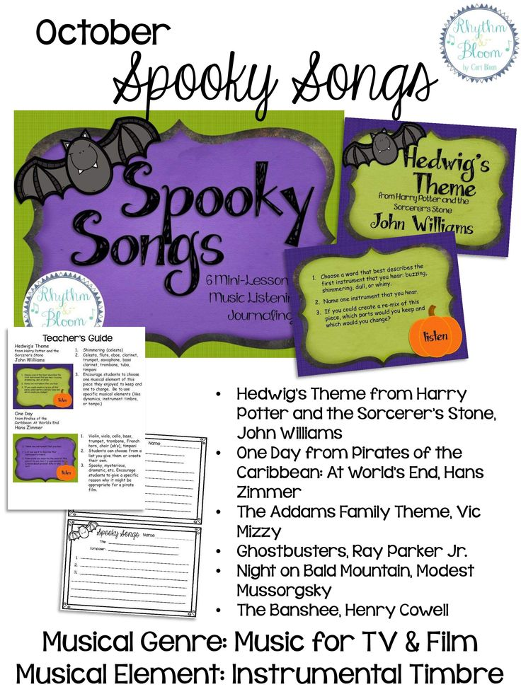 6 mini listening lessons for grades 5 - 8; Spooky Songs