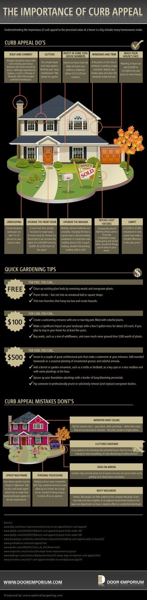 Want to get buyers to stop? Improve your curb appeal. GREAT infographic with things you can do that are free, around $100, or around $500!