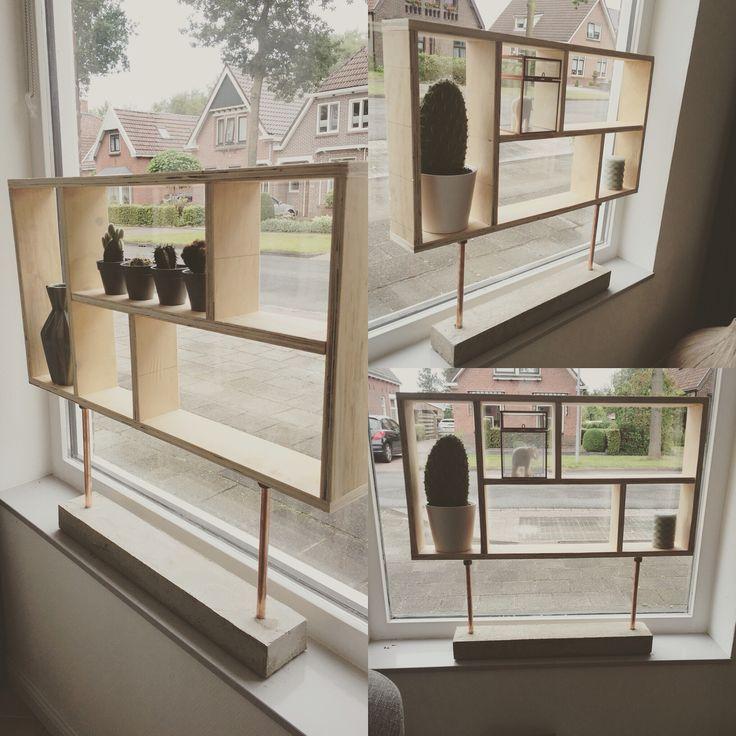 Raamdecoratie voor smalle vensterbank #diy #houtbetonkoper