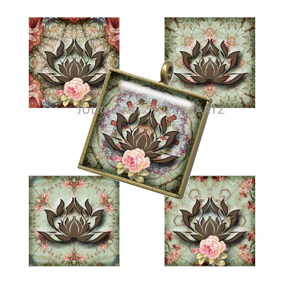LOTUS Symbol 1x1 Square Tiles,Printable Digital Images, Cards, Gift Tags, Scrabble Tiles, Yoga, Meditation