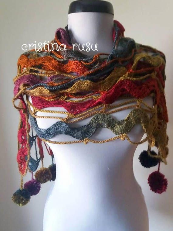 Multicolor Crochet scarfMohair cowl Wrap Bridal