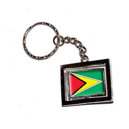 Guyana Country Flag New Keychain Ring, Silver