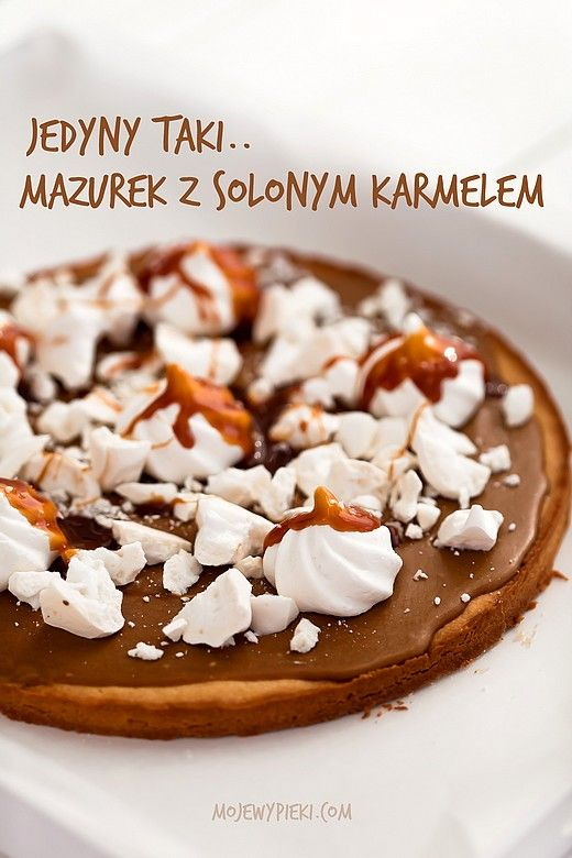 Mazurek with meringue coffee and salted caramel