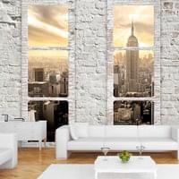 Vlies Tapete ! Top ! Fototapete ! Wandbilder XL ! 350x245 cm FENSTER NEW YORK NYC STADT c-A-0066-a-b