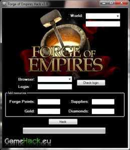 http://gamehack.eu/2012/forge-empires-hack-2012/  Hello! I feel a little small program, which many can. If you want to be the best in the game and you do not have much time, this program is right for you. Watch the video and see that it really works!    It adds:  Forge Points, Gold, Supplies, Diamonds    We invite you to download.