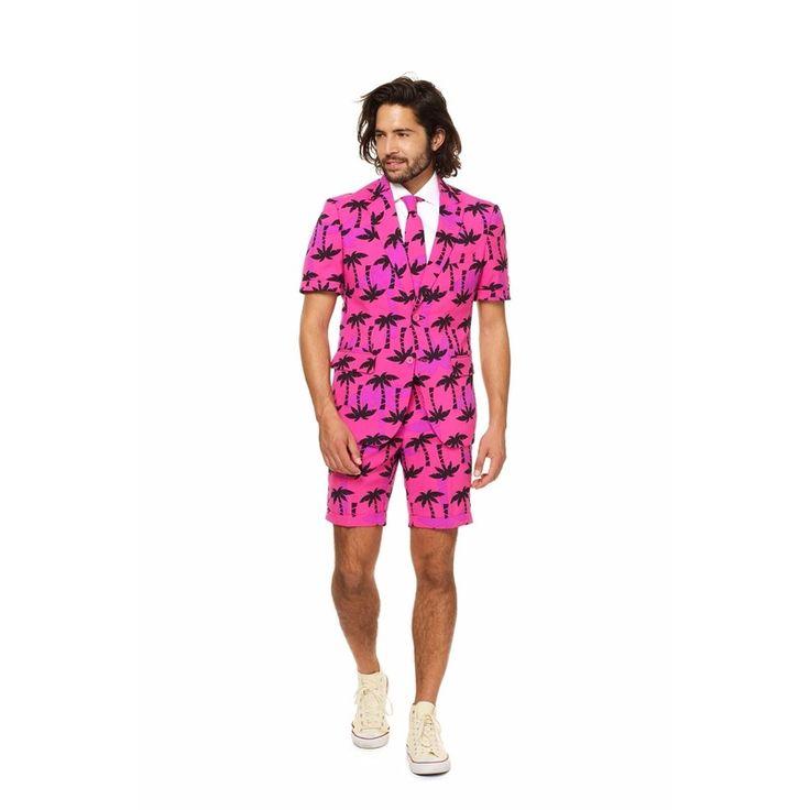 Palmbomen zomer kostuum inclusief stropdas. Dit gave palmbomen kostuum voor heren wordt geleverd met een stropdas in dezelfde kleur. Getailleerd heren colbert met korte mouwen en korte pantalon. Materiaal: 100% hoogwaardig polyester. Exclusief overhemd.