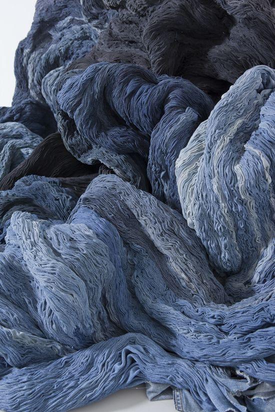 Textile art by Hanne Friis, blue indigo