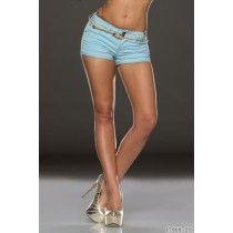 Hotpants mit Gürtel Hellblau