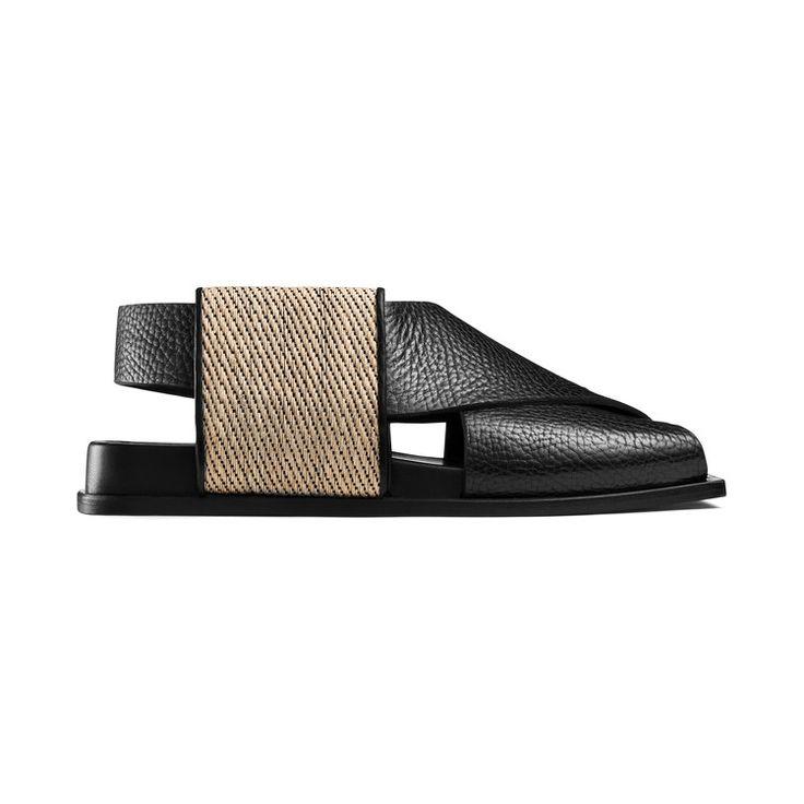 Acne Studios Fera black is a sandal inspired by Japanese obi folding techniques #AcneStudios #Resort2015
