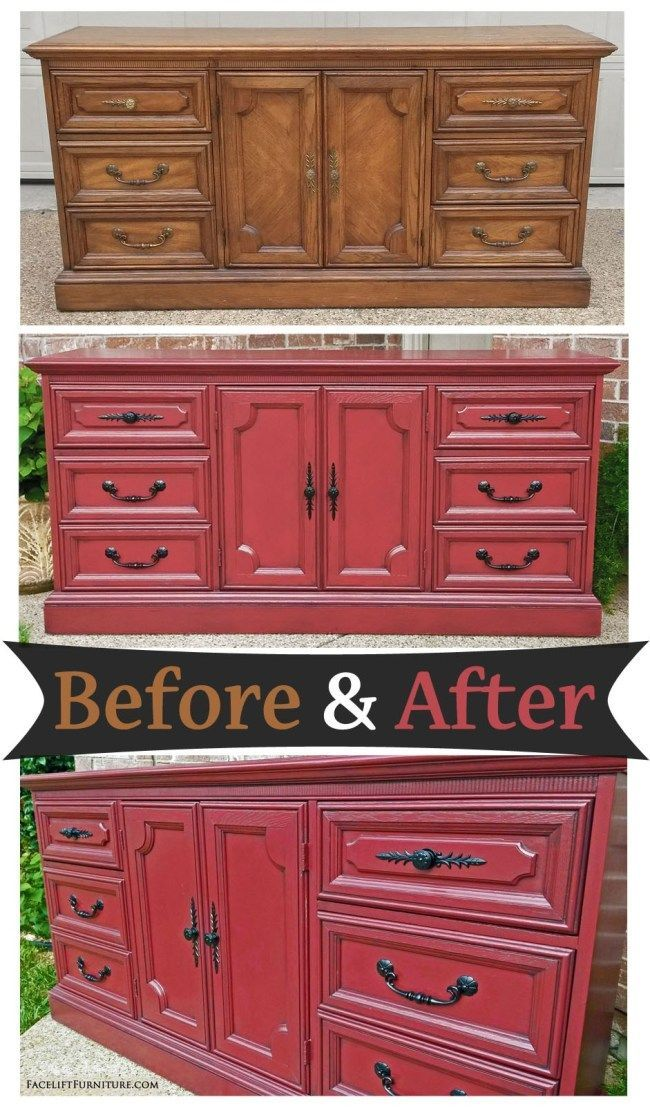Dresser painted and glazed in Barn Red and Black – Before and After from Facelif…