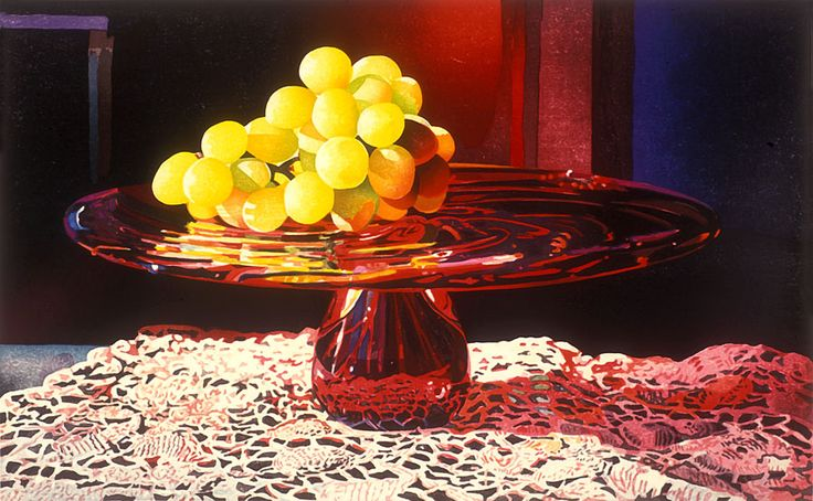 A Glow of Grapes on Garnet Glass - Mary Pratt