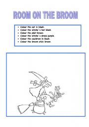 English worksheet: Room on the broom.After reading activity