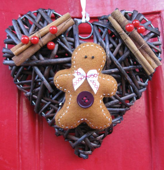 Felt gingerbread wicker heart by Felttopia on Etsy, £8.00