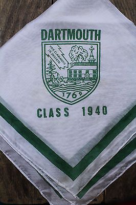 Dartmouth Ivy League College 1940 Vintage Handkerchief Scarf Big Green Shield