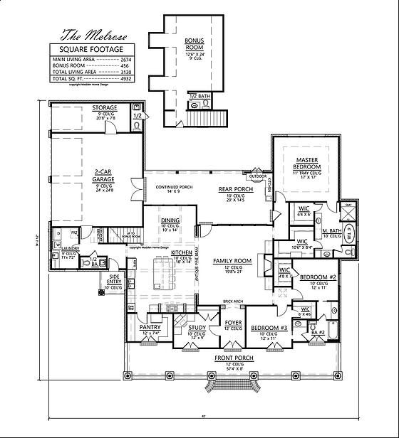 Madden home design melrose 3 4 bedrooms bonus room 3 5 for Melrose house plan