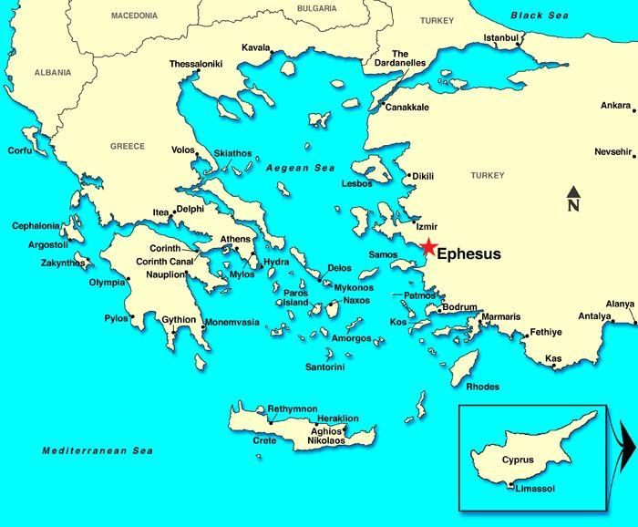 Ephesus / Kusadasi, Turkey Map
