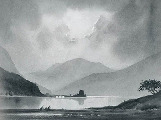 Monochrome Landscape with water and mountains - by David Bellamy (beautiful)