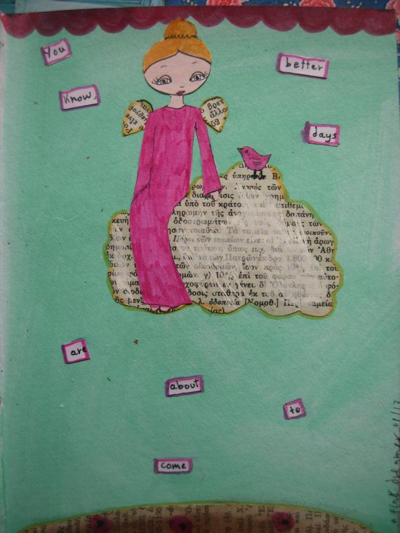 The Cloud  Affirmation Girls Collection 3 mixed media by eltsamp, $20.00