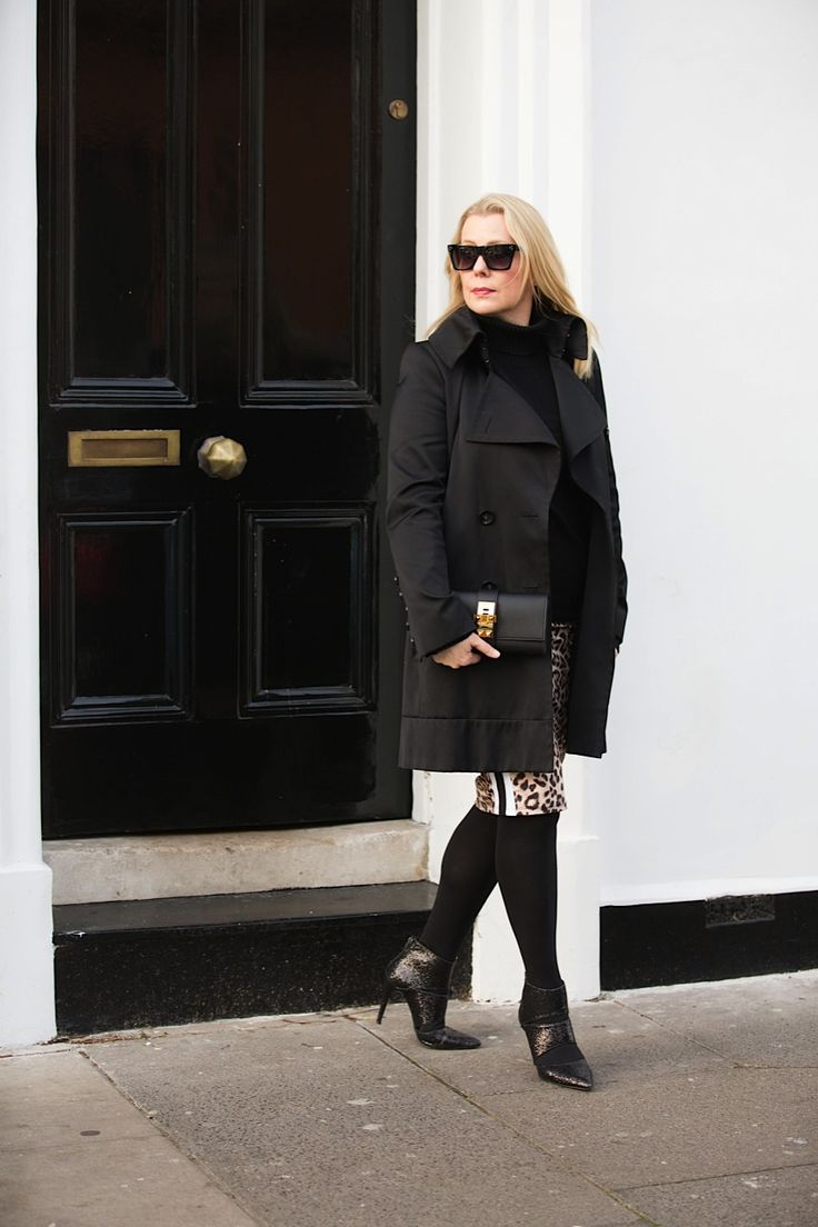 Black trench and leopard skirt with sport stripe detail