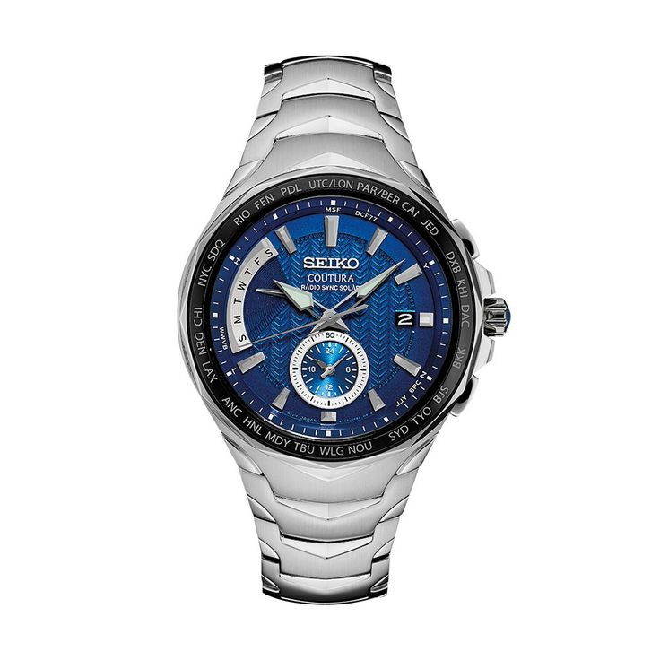 Seiko Men's Coutura Stainless Steel Radio Sync Solar Watch - SSG019, Size: Large, Silver