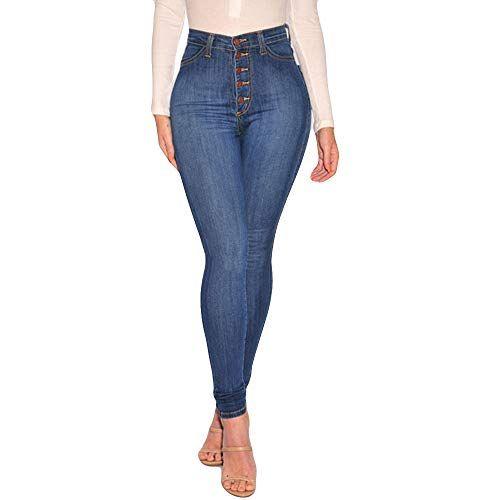 b520f2bb5 Pantalon Jean Femme Taille Haute Slim Chic Koly Boutons Denim Jeans ...