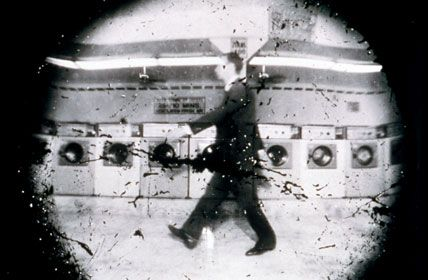 Steven Pippin  Laundromat Locomotion.  He turned a line of washing machines into individual pin hole cameras with trip wires attached. When he walked (or rode a horse) through the laundromat, the shutters went off! He then developed and fixed the photographs in the wash and rinse cycles of the machines for the full effect. I love this!