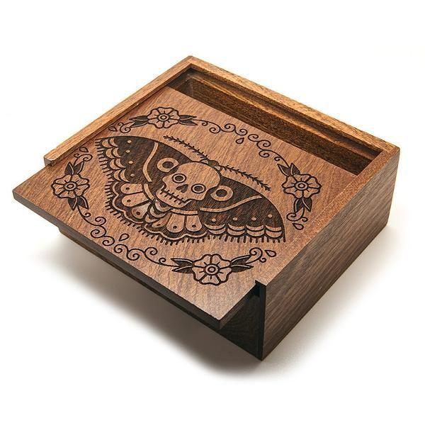 Butterfly Skull - Wooden Jewellery Box | Custom Plugs - Best Ear Gauges, Flesh…