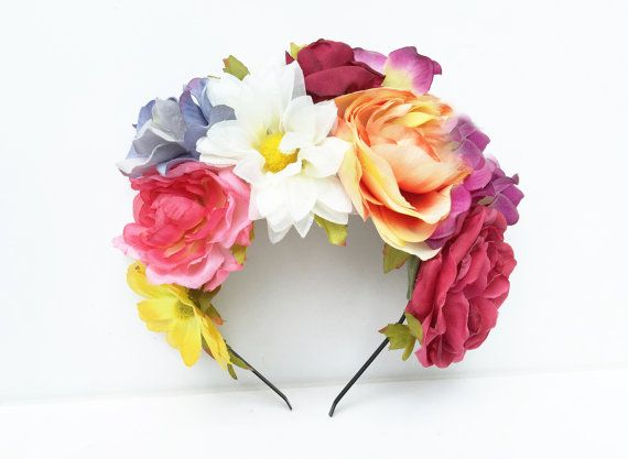 Summer Frida Flower Crown. Floral Headband by BloomDesignStudio