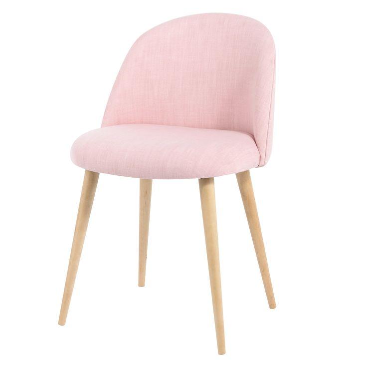 Chaise vintage en tissu et bouleau massif rose Mauricette